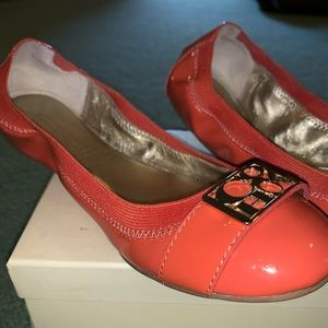 Coach peachy/pink colored flats, size 7.5